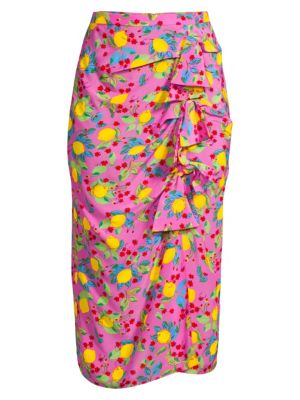 Saloni Kelly Bow Front Silk Skirt