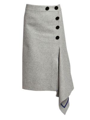 Sacai Skirts Melton Wool Asymmetric Button Skirt