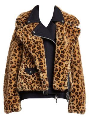 Sacai Jackets Faux-Fur Leopard Print Moto Jacket