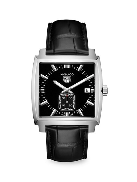 Monaco 37MM Stainless Steel & Black Alligator Strap Quartz Watch