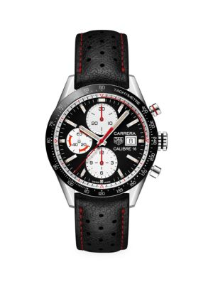 Tag Heuer Carrera 41MM Calibre 16 Ceramic & Black Leather Strap Automatic Chronograph Watch
