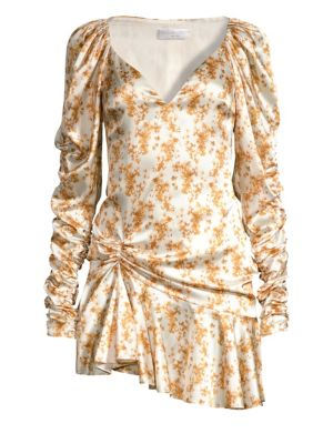 Caroline Constas Evelyn Printed Stretch Silk Mini Dress