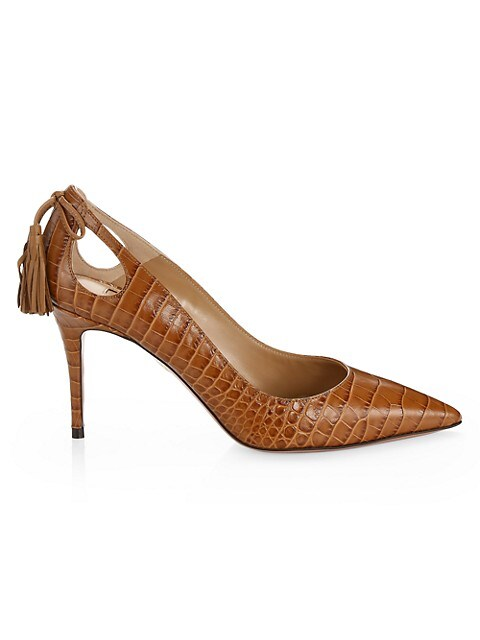 Forever Marilyn Cutout Croc-Embossed Leather Pumps