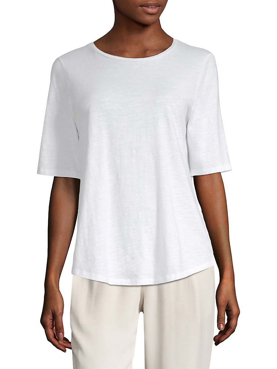 EILEEN FISHER WOMEN'S ORGANIC COTTON SLUB ELBOW-SLEEVE TOP