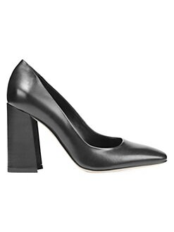 28b3fe3cd2fa Beatrice Leather Stacked Heel Pumps BLACK. QUICK VIEW. Product image