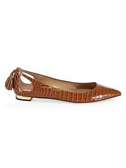 a86b8676dfc3c QUICK VIEW. Aquazzura. Forever Marilyn Croc-Print Ballet Flats