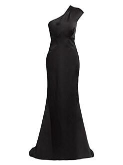 56a4225ad55c Zac Posen. One-Shoulder Stretch Satin Gown
