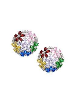54c001abc QUICK VIEW. Fallon. Florette Rainbow Half Button Stud Earrings