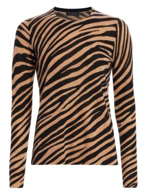 Saks Fifth Avenue Collection Zebra Cashmere Crewneck Sweater