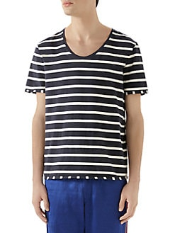 99c00b9da553 Gucci. Striped Gucci Label T-Shirt