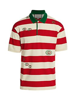 1a45403df59 Gucci. Embroidered Striped Jersey Polo