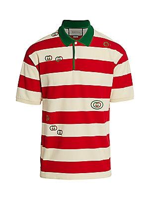 3cf0fc66fa1 Gucci - Embroidered Striped Jersey Polo<br>