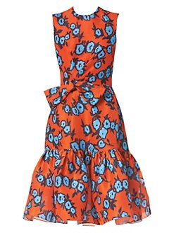 f6d776fe7ebee QUICK VIEW. Carolina Herrera. Floral Silk Gathered Bow Dress