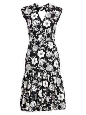 Carolina Herrera Floral V Neck Cap Sleeve Dress