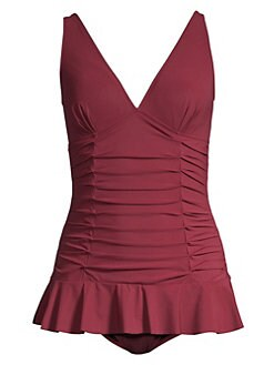 37774cc74215f One-Piece Ruffled Swimdress MERLOT. QUICK VIEW. Product image