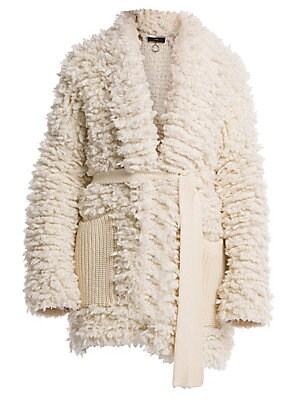 Image of Alanui is known for its hand with knits, and this cuddly wool-blend coat is no exception to the rule. Roomy knit patch pockets and a sash belt up the cozy factor of the piece. Open front Long sleeves Self-tie at waist Waist patch pockets Wool/polyamide Dr