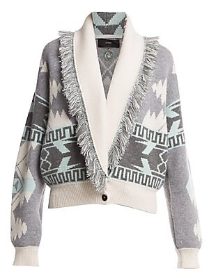 Image of A geometric blanket pattern is a dynamic addition to this cashmere and wool sweater. Its cropped shape partnered with a shawl collar result in a silhouette that falls somewhere between a cardigan and a bomber jacket. Shawl collar Long sleeves Ribbed cuffs
