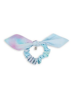 "Image of Add a retro color-pop to your ponytail with this tie-dyed scrunchie complete with bow and hanging charm detail. Cotton Hand wash Made in USA SIZE Diameter, about 2"". Contemporary Sp - Contemporary Collections > Saks Fifth Avenue. Dannijo. Color: Tie Dye."