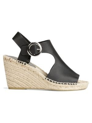 8e117be46b0 Nolan Cutout Leather Espadrille Wedge Sandals in Black/ Black Leather