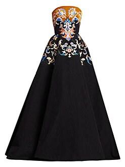 6644b8759cf54 Oscar de la Renta. Strapless Embroidered Velvet Ball Gown