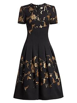 fac53f1c Oscar de la Renta. Metallic Floral Short-Sleeve Midi Dress