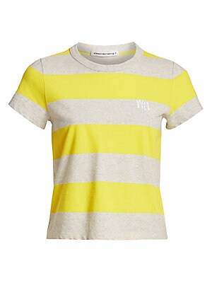 """Image of Bold horizontal stripes pattern this cap sleeve tee, finished with an embroidered logo at the left chest. Crewneck Cap sleeves Pullover style Cotton Machine wash Imported SIZE & FIT Fitted silhouette About 20"""" from shoulder to hem Model shown is 5'10"""" (17"""