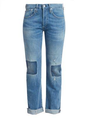 Rag & Bone Rosa Mid-rise Boyfriend Patchwork Cuffed Jeans In Ito