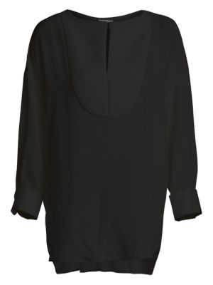 Emporio Armani Bib Front Silk Tunic Blouse
