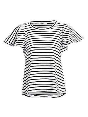 """Image of Classic horizontal striped tee with dramatic flutter sleeves. Roundneck Flutter cap sleeves Slip-on styling Cotton Machine wash Madein USA SIZE & FIT Relaxed fit About 24"""" from shoulder to hem Model shown is 5'10"""" (177cm) wearing US size Small. Contempora"""