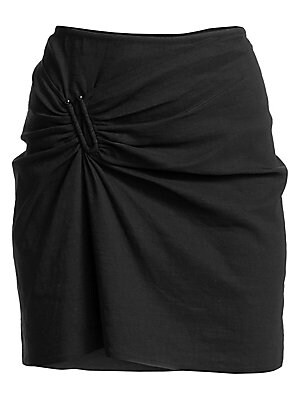 Image of A fitted stretch linen mini with asymmetric ruched construction finished with a silvertone U-ring detail. Concealed back zip Asymmetric ruching Silvertone U-ring Linen/polyamide/elastane Dry clean Imported of Italian fabric SIZE & FIT Fitted silhouette Ab