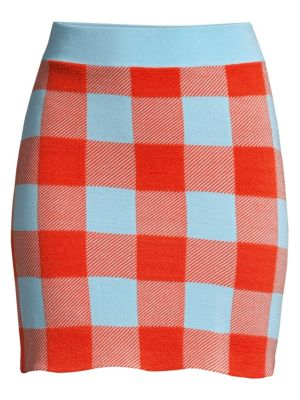 Staud Sonoma Check Cotton Mini Skirt