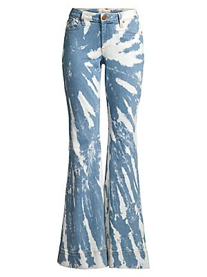 """Image of Bold, tie-dye bleaching and a super flared leg gift these jeans with 70s pizzazz. Belt loops Zip fly with button closure Five-pocket style Cotton Machine wash Made in USA SIZE & FIT Bell bottom silhouette Rise, about 9.5"""" Inseam, about 34"""" Leg opening, ab"""