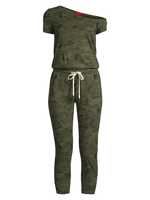 Britton One-Shoulder Camo Jumpsuit