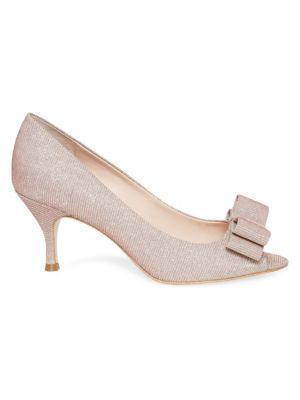 Kate Spade Cecilia Glitter Peep Toe Pumps In Pink