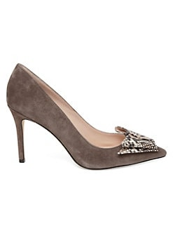 ba707abd5f23 Kate Spade New York. Vanna Snakeskin Embossed Leather   Suede Point Toe  Pumps