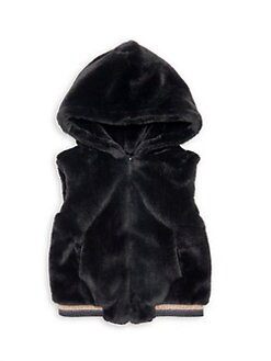 50d80163a9a Little GIrl s   Girl s Hooded Faux Fur Vest BLACK. QUICK VIEW. Product image