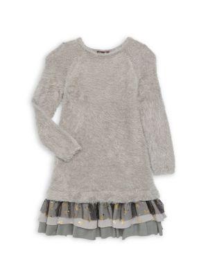 Imoga Little Girl S Girl S Boucl Knit Sparkly Mesh Shift Dress