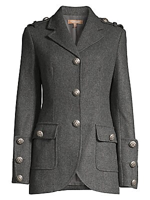 Military Stretch Wool Button Jacket by Michael Kors Collection