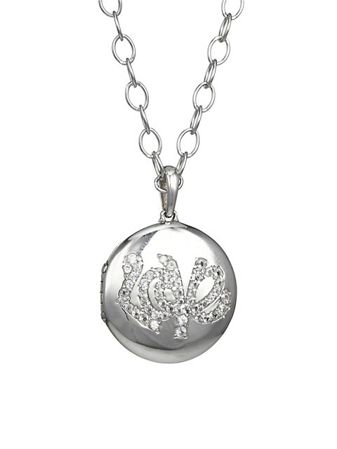 Sterling Silver & White Sapphire Love Locket Necklace