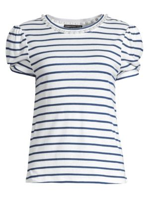 Generation Love Elena Stripe Pearl Linen Blend Tee