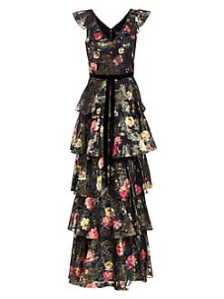 2fcd27ca Product image. QUICK VIEW. Marchesa Notte. Metallic Floral Printed Tiered A-Line  Gown