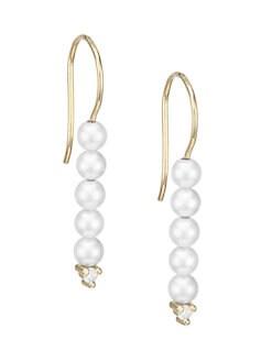 c7ae01be4 Mizuki. 3MM Pearl, Diamond & 14K Yellow Gold Delicate Drop Earrings