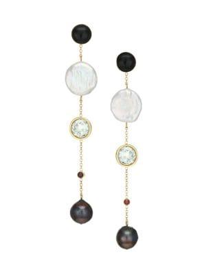 Lizzie Fortunato Bon Vivant Goldplated Freshwater Pearl Amp Multi Stone Linear Drop Earrings