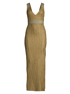 d5a63e90f30 QUICK VIEW. Herve Leger. Metallic Deep V Gown