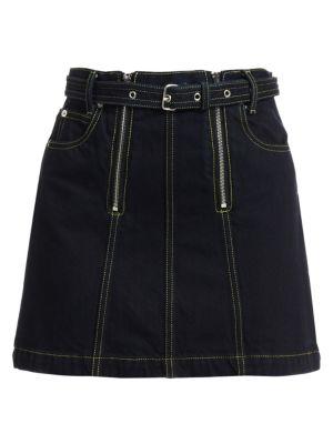 Proenza Schouler Pswl Front Zip A Line Denim Skirt