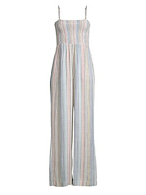 """Image of A smocked bodice tops this relaxed wide-leg jumpsuit adorned with faded stripe motif. Squareneck Adjustable spaghetti straps Pull-on style Smocked bodice Rayon Machine wash Made in USA SIZE & FIT Wide-leg silhouette About 60"""" from shoulder to hem Rise, ab"""
