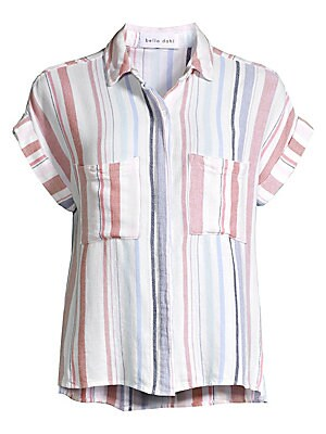Image of Faded stripes adorn this relaxed button-down shirt with rolled cap sleeves. Point collar Cap sleeves with rolled cuffs Concealed button front Chest patch pockets Side slits Back pleat Rayon/linen Machine wash Made in USA SIZE & FIT Relaxed silhouette Abou