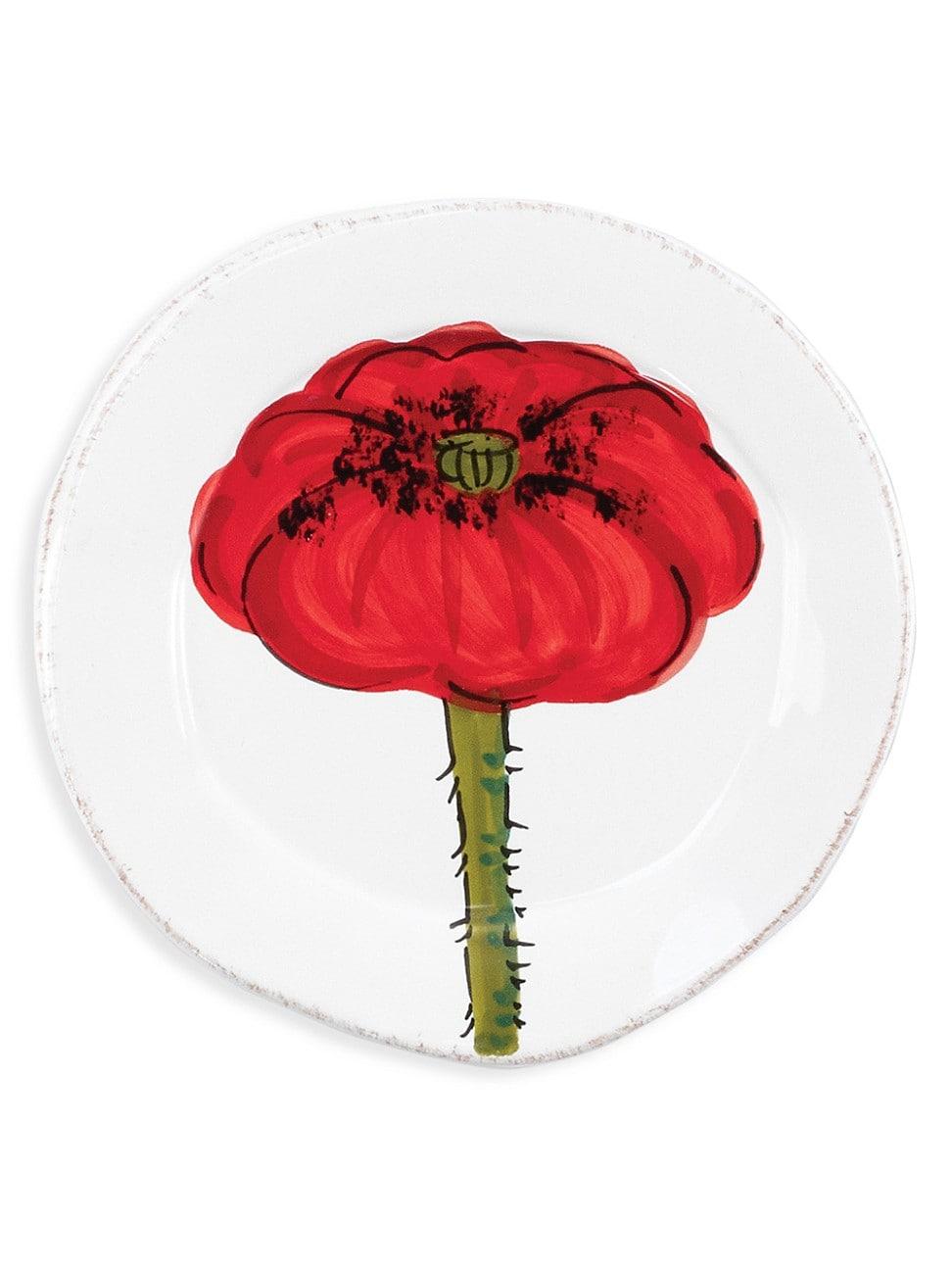 Vietri Lastra Poppy Canape Plate In Handpainted