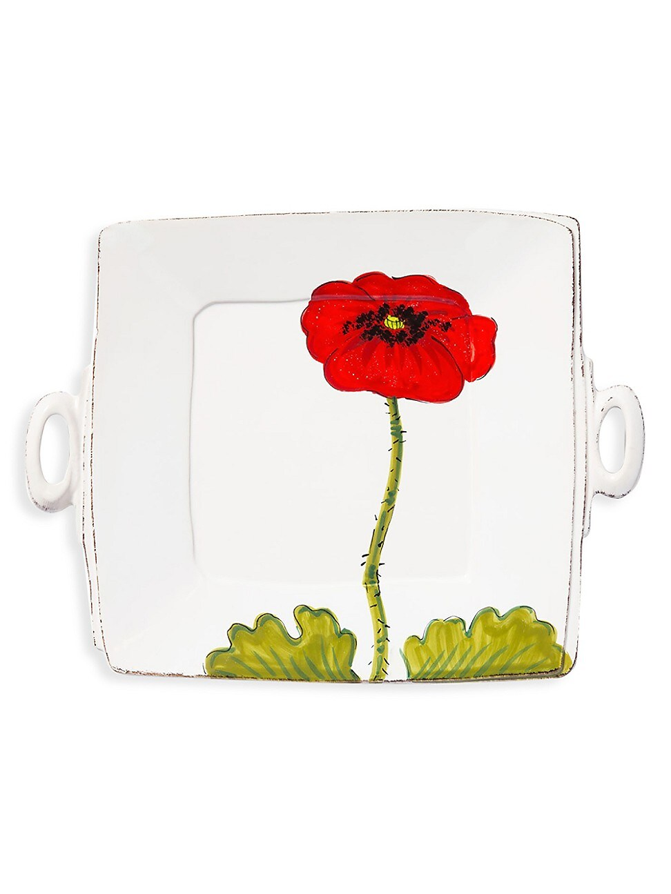 Vietri Lastra Poppy Collection Square Handled Platter In Multi