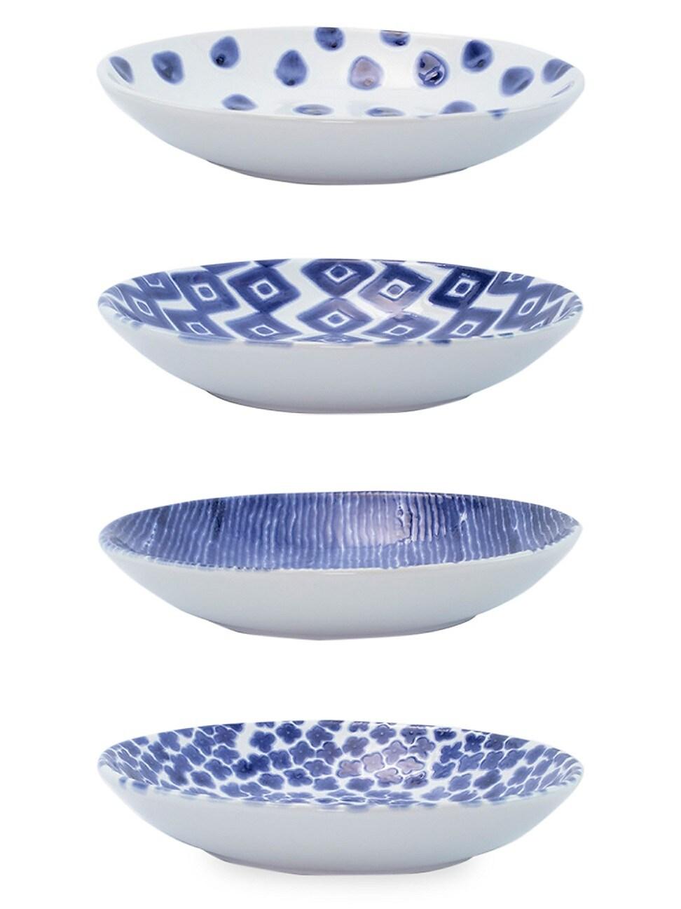 Vietri Viva Santorini Assorted 4-piece Pasta Bowl Set In Blue